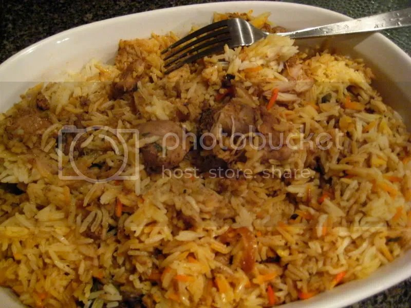 Biryani with tender chunks of spicy chicken