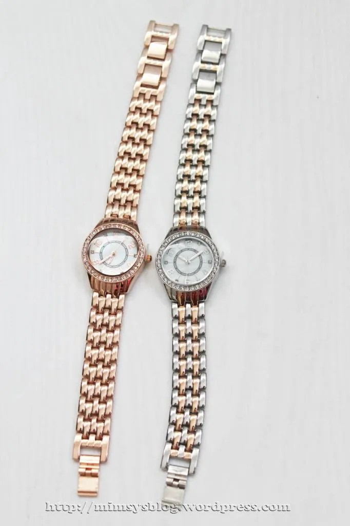 Merona Round Case Bracelet Watch with Stones - Rose Gold, Two Tone