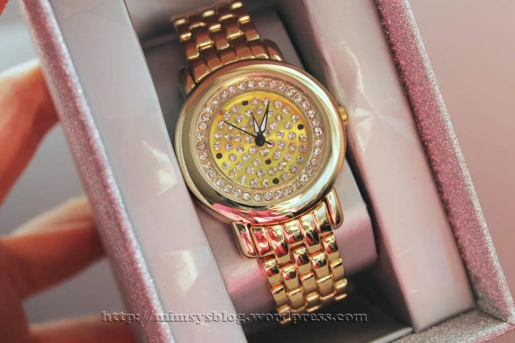 Target Pave Dial Watch with Rhinestones - Gold