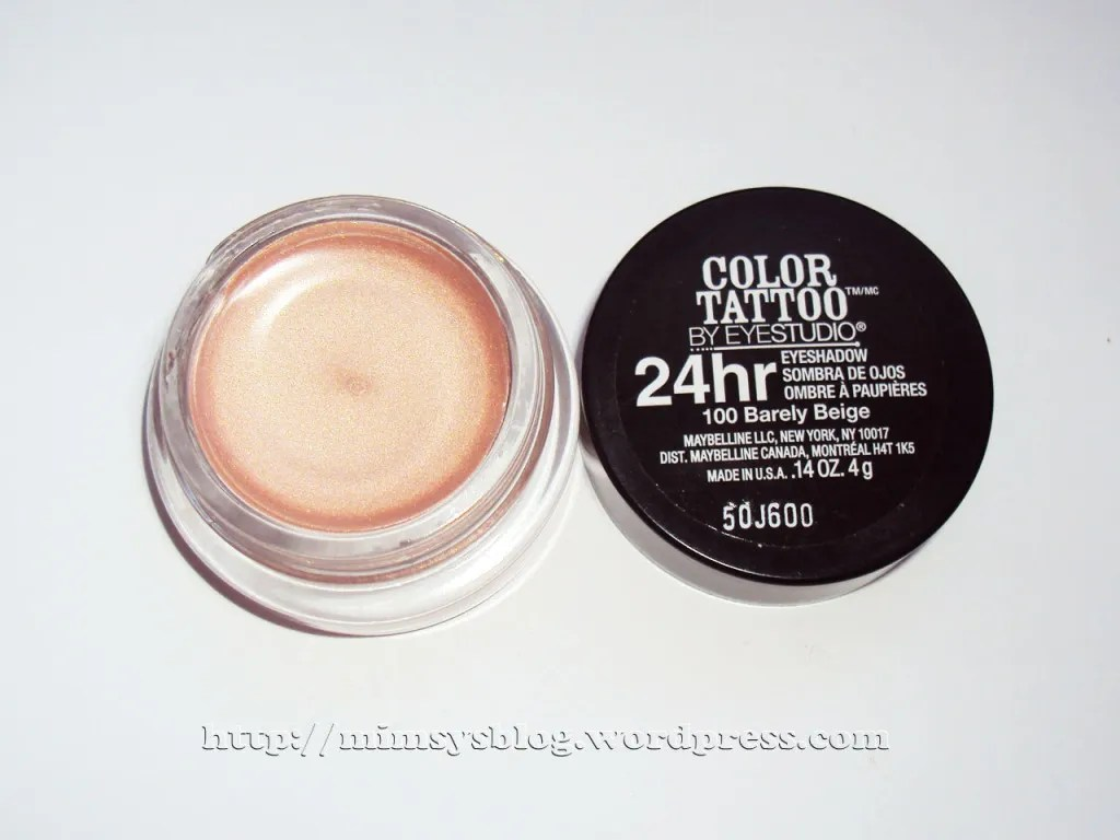 Maybelline color tattoo eyeshadow barely beige mimsy 39 s for Color tattoo maybelline