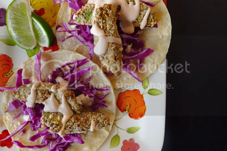 Pretzel Oven-Fried Avocado Tacos with Chipotle Dressing - Nibbles and ...