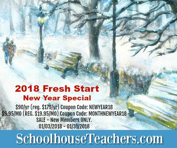 Schoolhouse Teachers 2018 Fresh Start New Years Speical