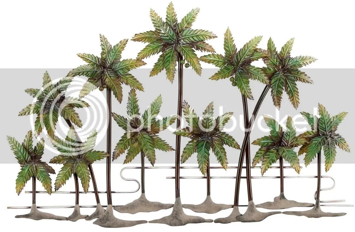 Large Metal Palm Tree Wall Decor Glazed, Contemporary