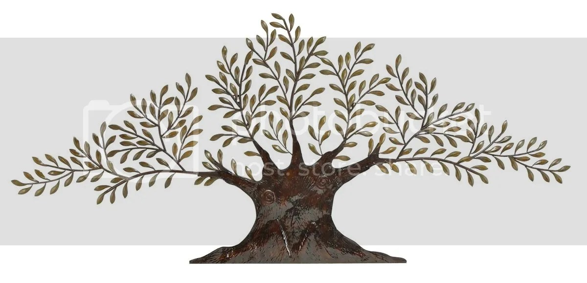 Large Contemporary Metal Tree Gold Leaf Accents, Modern