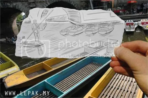 lukisanpensel7 Gambar Menarik Lukisan Pensel Bergabung Dengan Realiti