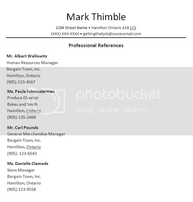 sample    professional reference template
