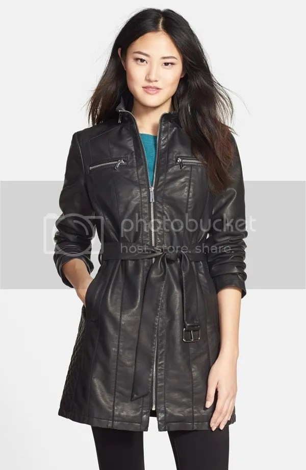 belted faux leather coat (kenneth cole)