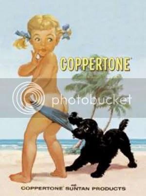 Uma das primeiras campanhas publicitárias da Coppertone