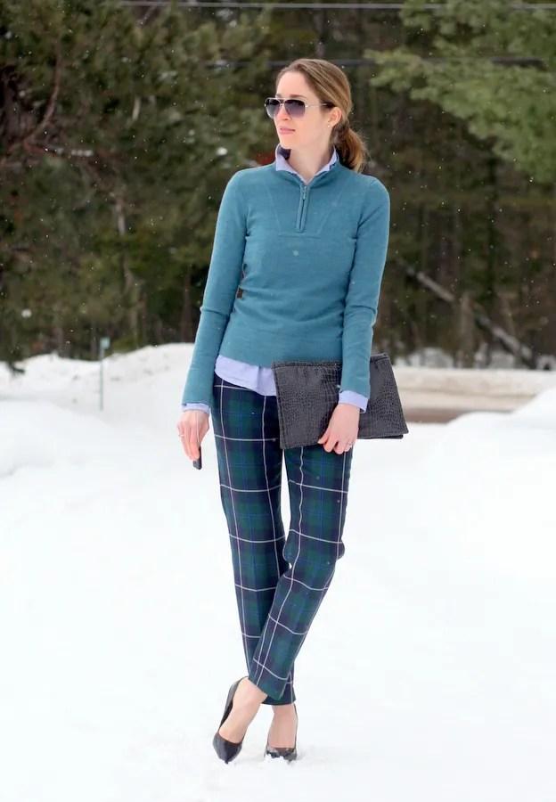 canada winter fashion plaid pants ski sweater
