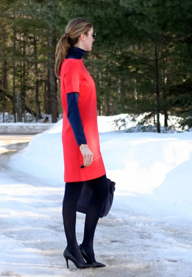 red shift dress with turtleneck