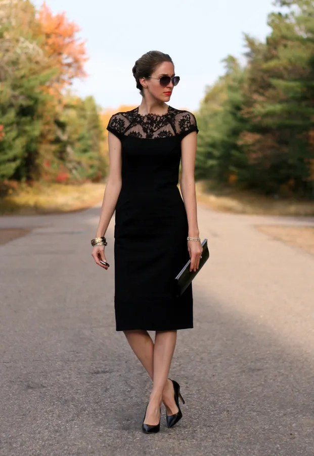 wedding guest attire lace neck dress