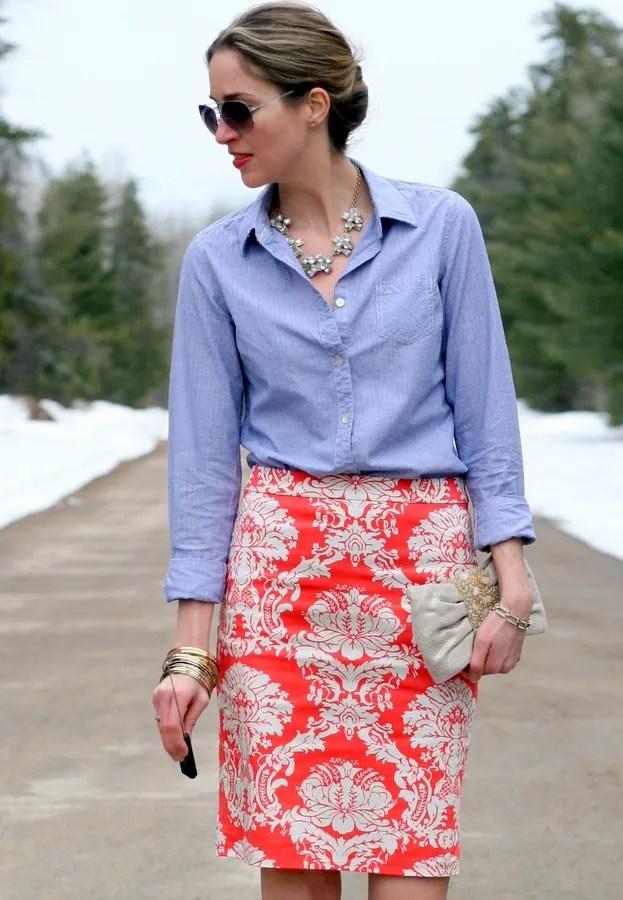 chambray shirt printed j.crew factory pencil skirt