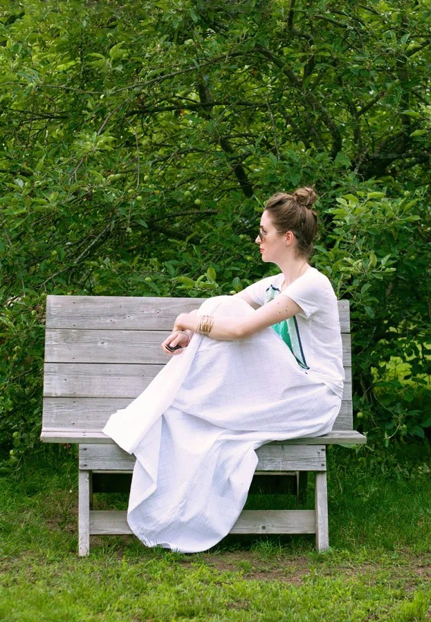 white homemade maxi skirt linen j.crew tee