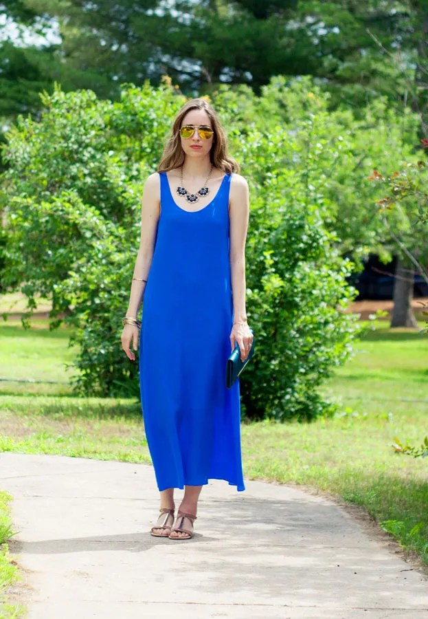 j.crew silk crepe maxidress cobalt sandals