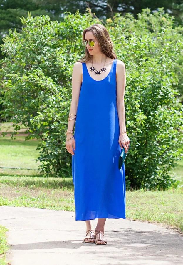 laura wears midi cobalt silk maxi dress
