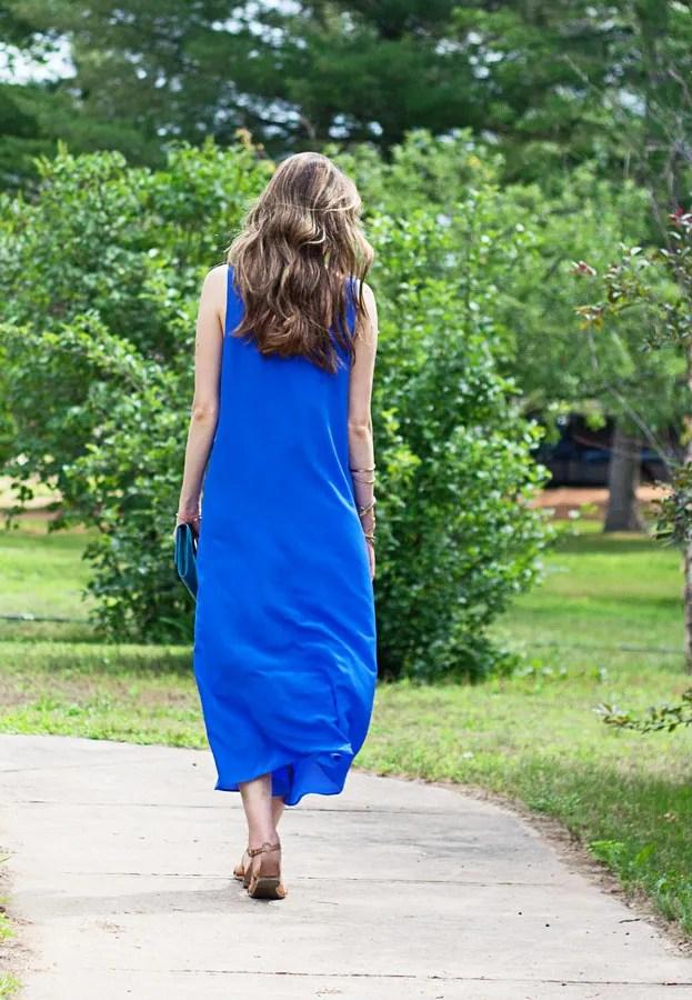 laura wears j.crew silk crepe maxidress ankle flow-y