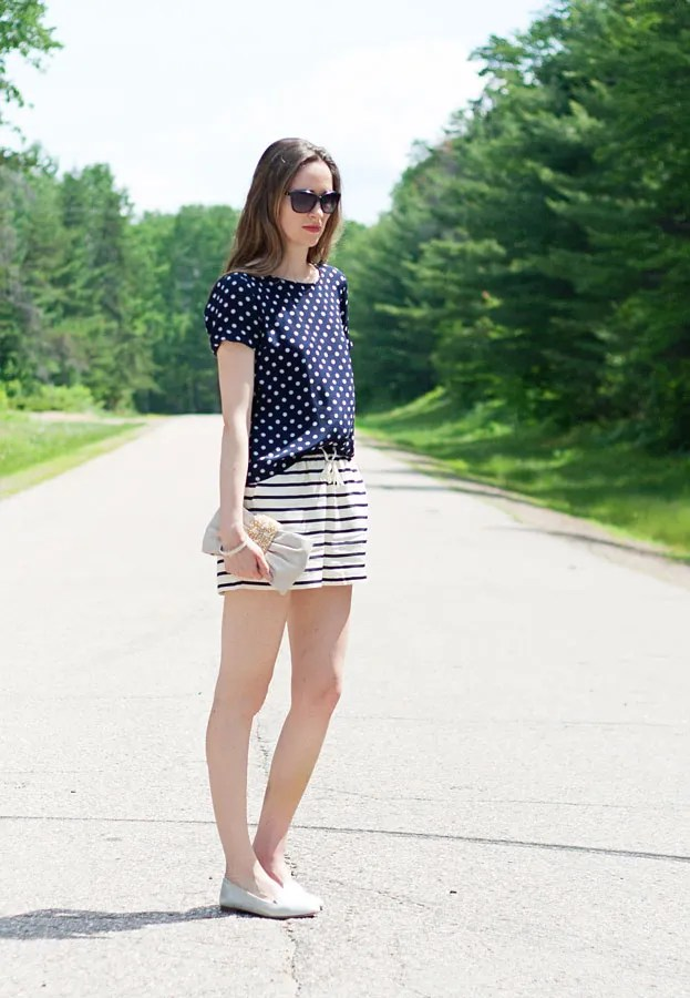 Laura Wears | J.Crew Polka Dot Silk Blouse and Joe Fresh Silk Stripe Shorts