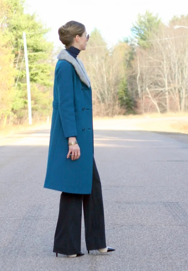 teal blue vintage wool