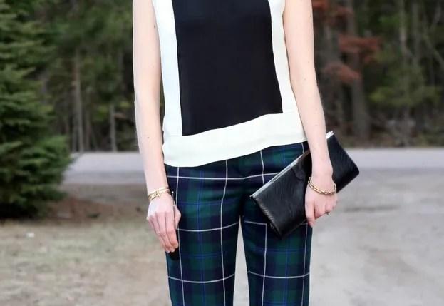 j.crew silk colorblock blouse and plaid pants