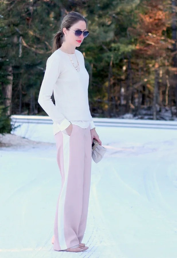 tuxedo pant pastel winter outfit