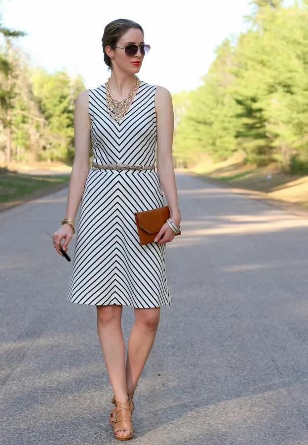 stripe ponte dress gold bib necklace osolee