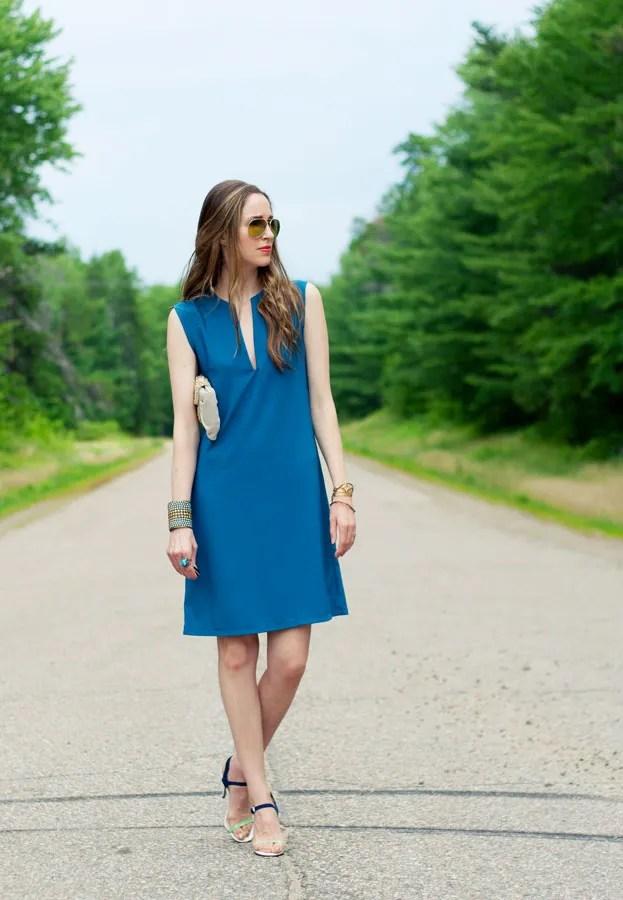 Laura Wears ... split neck green dress