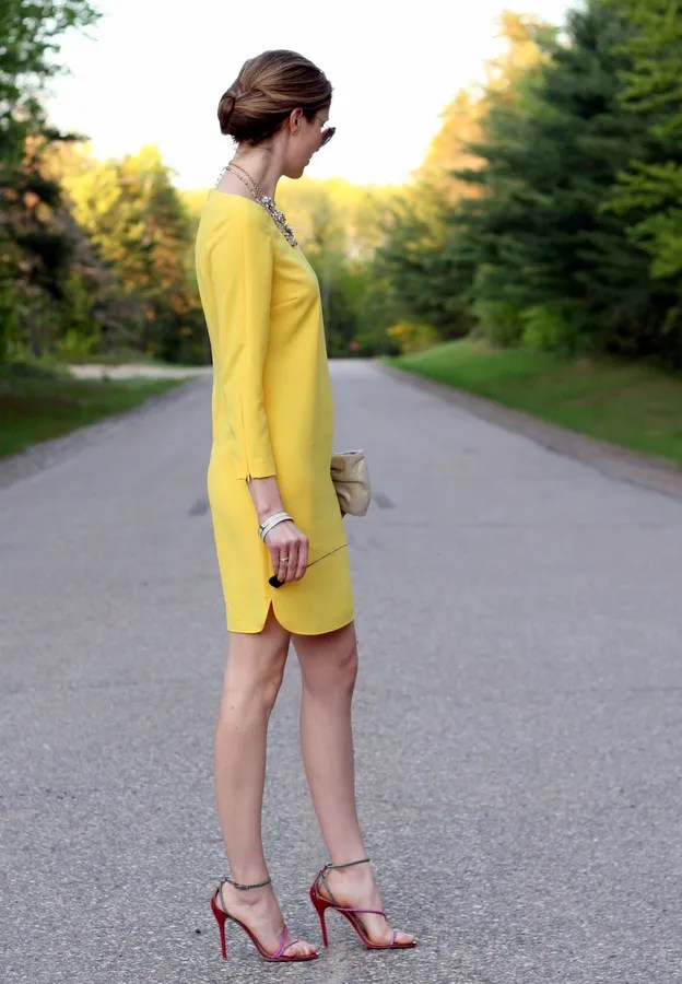banana republic yellow shift dress