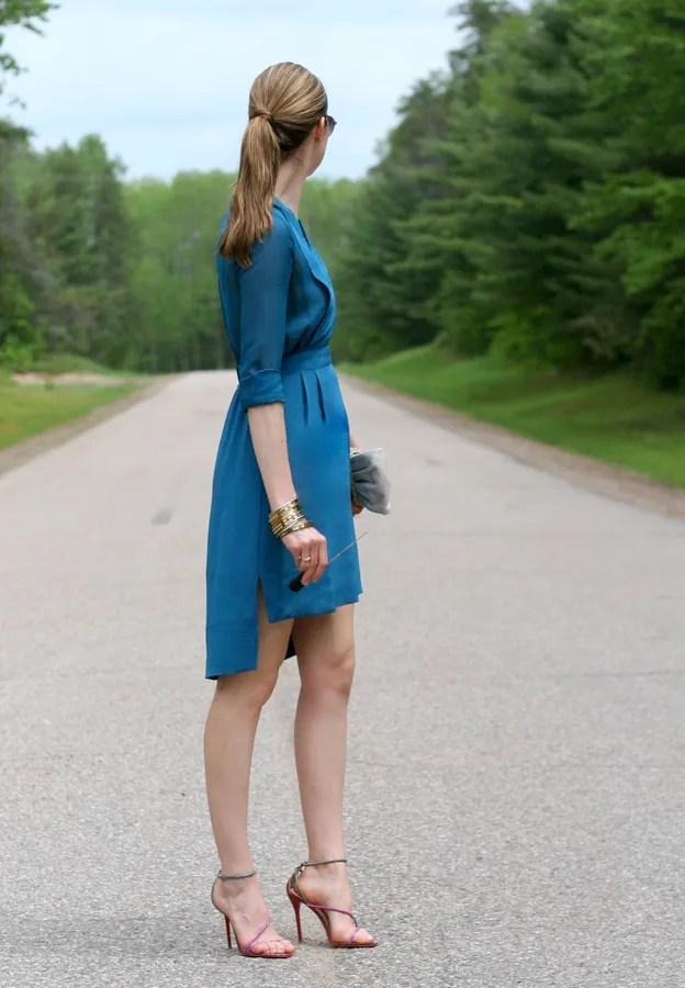 bcbgmaxazria silk dress high low brian atwood sandal
