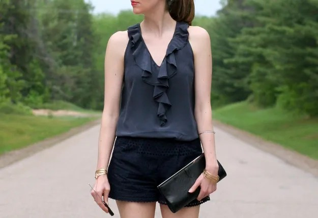 navy monochrome outfit look j.crew eyelet shorts silk blouse