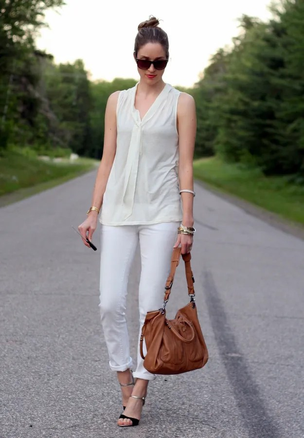 white rolled up jeans and bow blouse