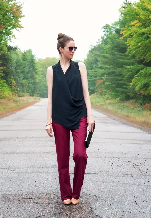 A Closet Full of Clothes - Mexx draped cross front wrap top and J.Crew Factory burgundy work wear trouser
