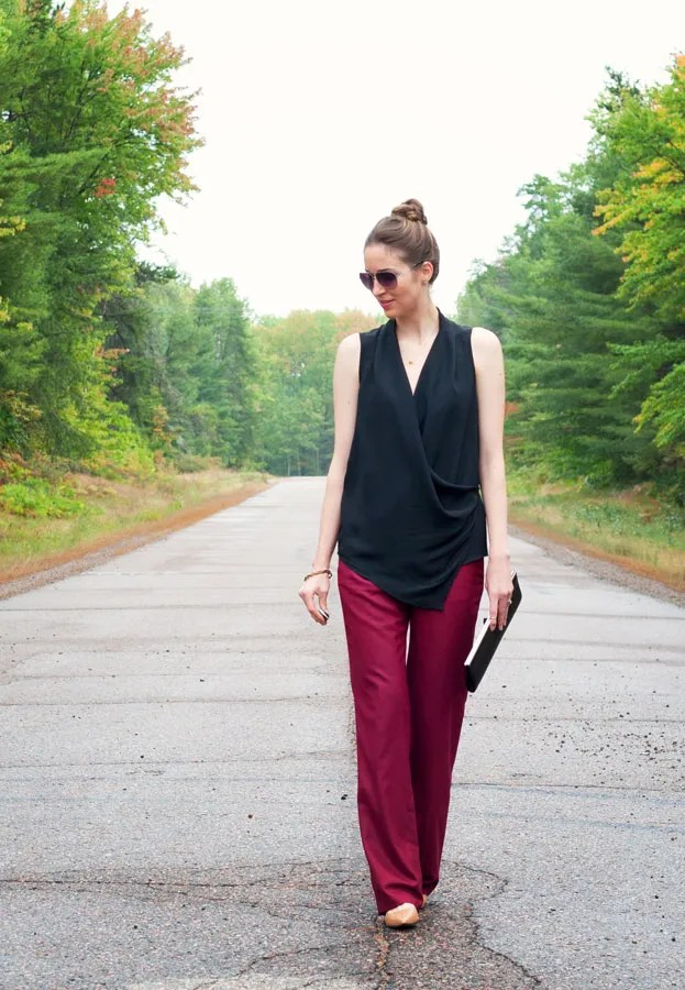 A Closet Full of Clothes - J.Crew Factory Wool Trouser Wide-leg Pant in Burgundy