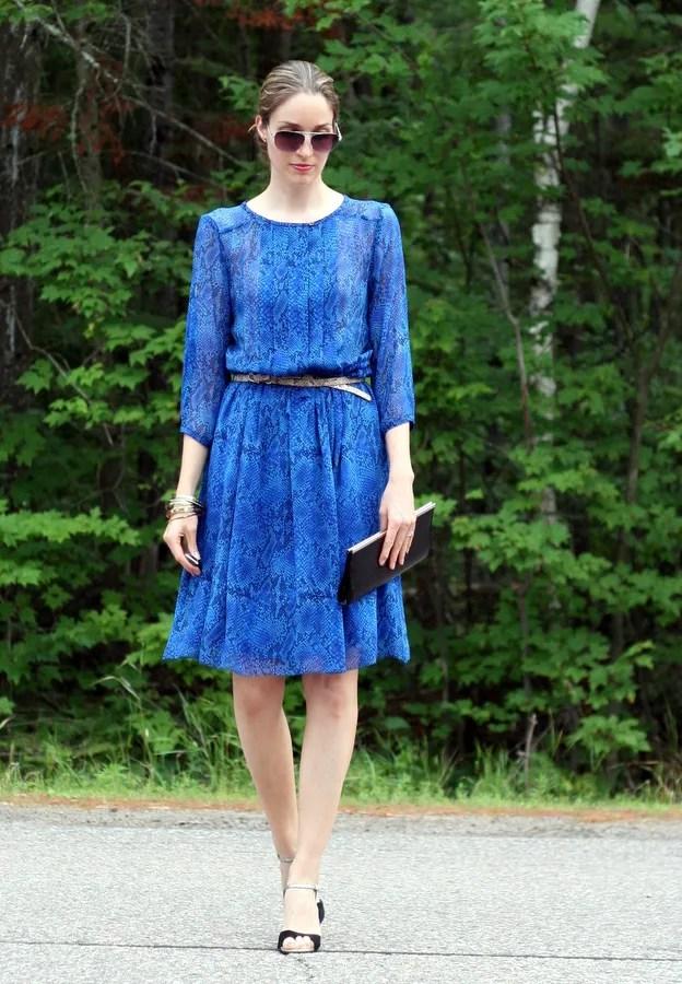 feminine silk dress blue snake print