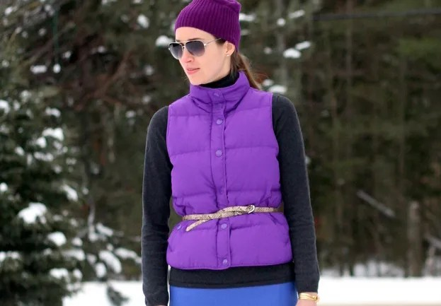 belted puffer down vest j.crew pencil skirt