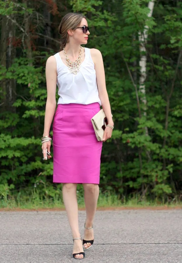 pink pencil skirt and cotton blouse j.crew