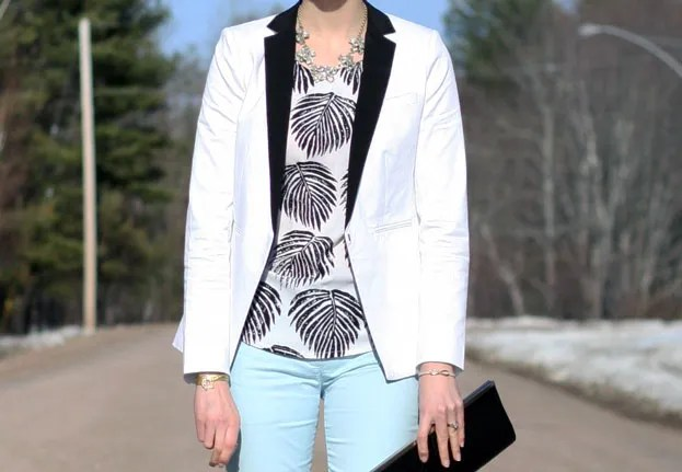 Club Monaco blazer SheInside leaf print top