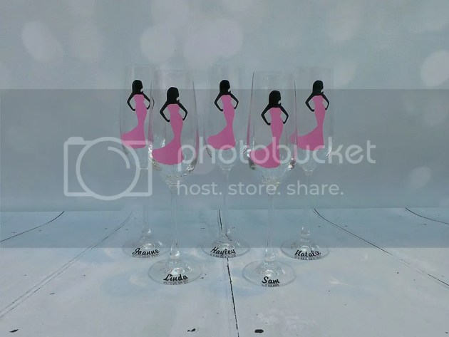 Bridesmaids gifts, personalised champagne glasses, personalised bridesmaids gifts, vinyl decal glasses, wedding gift ideas