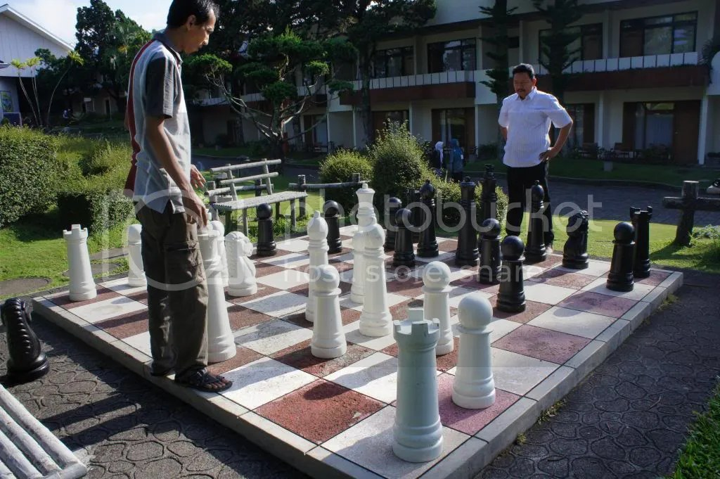 Like to play chess, as real as the wizard chess in Harry Potter ... and those two are the king of the two kingdom..... say WAAAAARRRRR