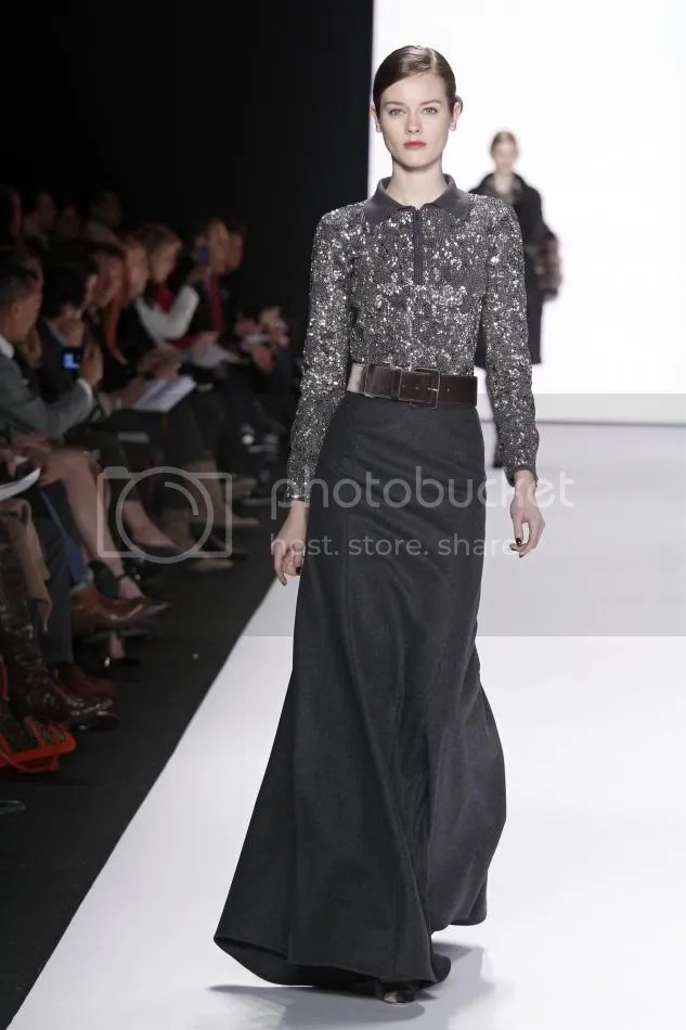 4. Jac: Dark gray wool felt wing skirt, metallic sequin embroidered sweater, dark gray velvet belt