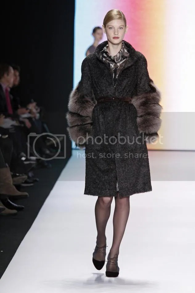5. Patricia Black and cocoa mélange wool coat with fox sleeves, clay feather print silk crêpe blouse and skirt, amethyst velvet belt
