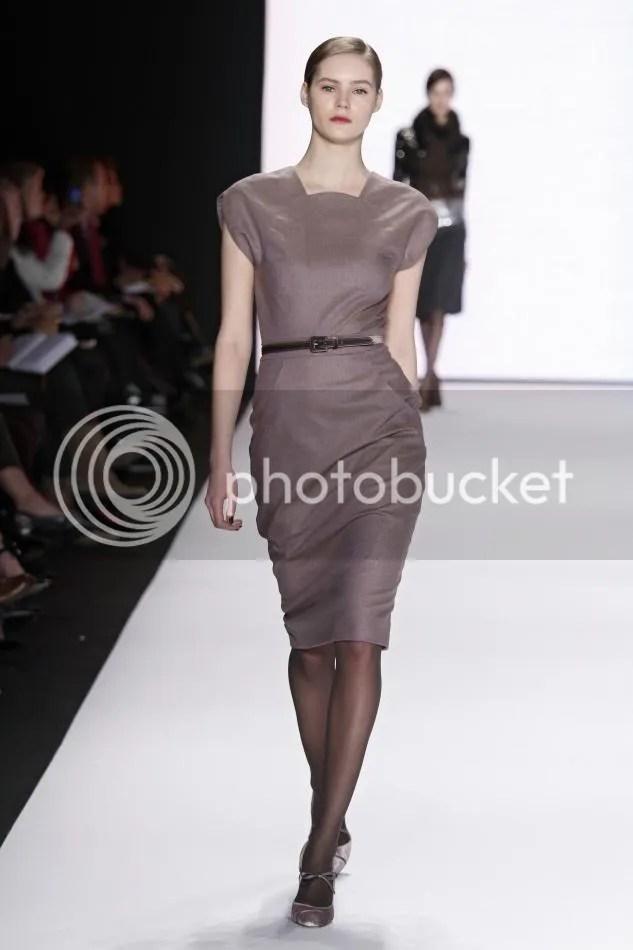 6. Juju: Light amethyst wool pencil dress and dark gray velvet belt