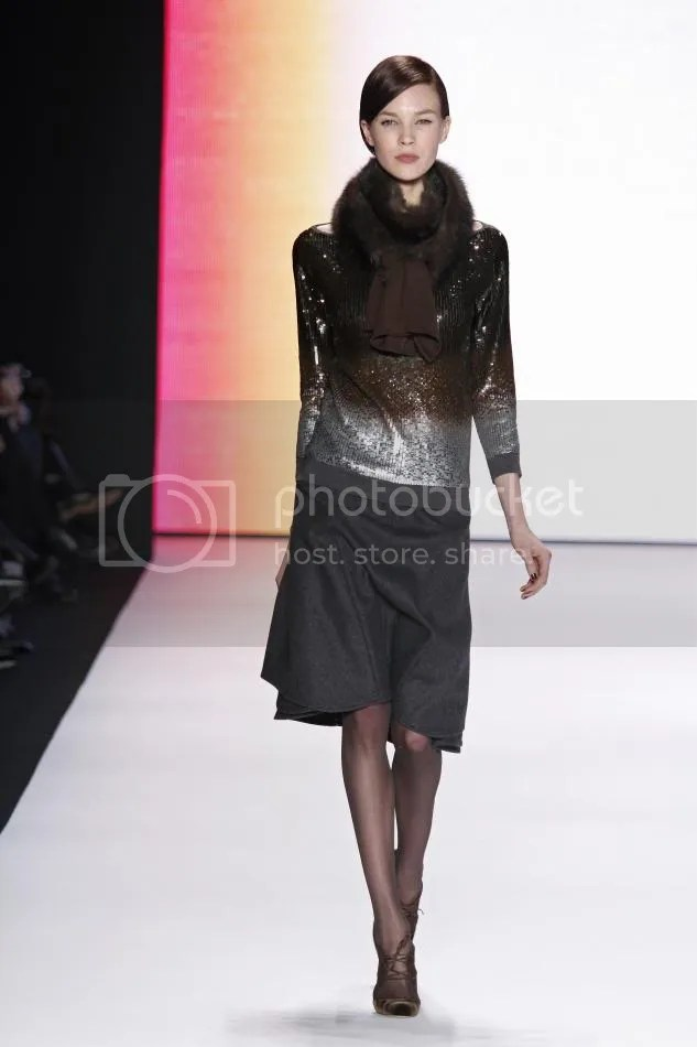 7. Britt: Cocoa dégradé sweater, dark gray wool wing skirt, cocoa sable scarf