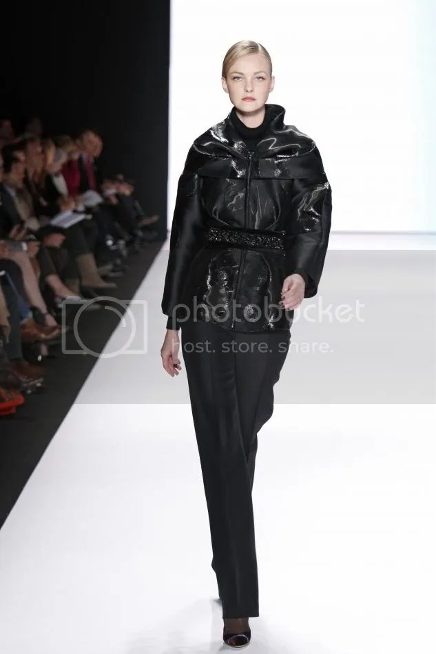 11. Tilda: Black liquid jacquard jacket, black silk wool organdy trouser, embroidered belt
