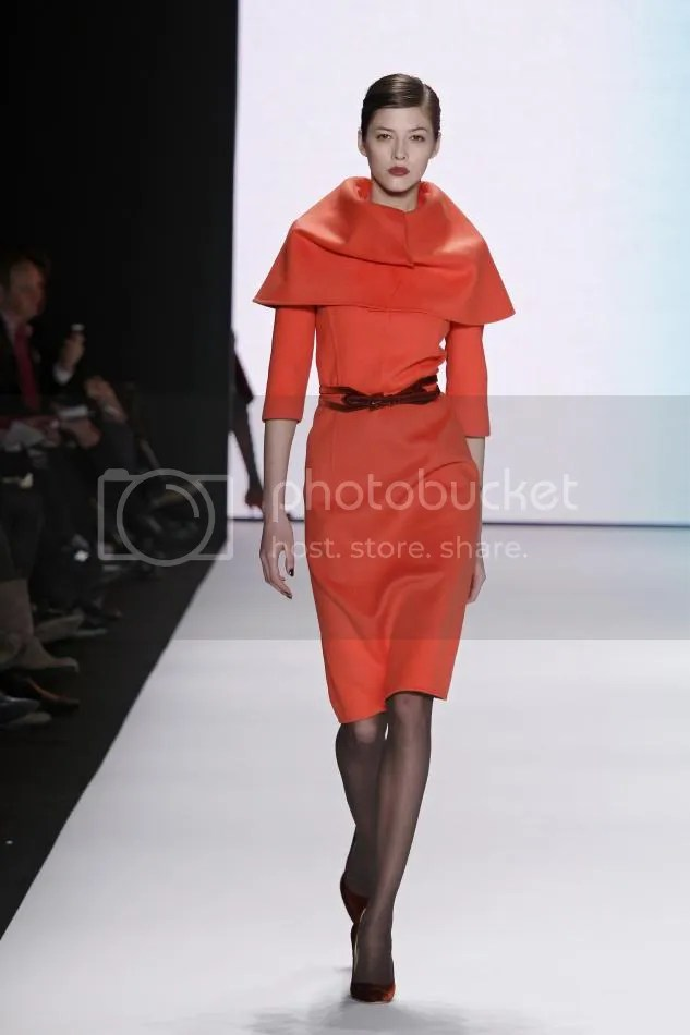 23. Yulia: Jasper red double flannel pencil dress caplet collar and rust velvet belt.