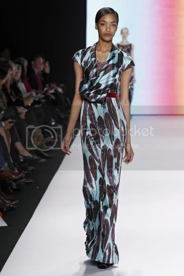 30. Jourdan: Turquoise and amethyst feather print embroidered gown and rust velvet belt.