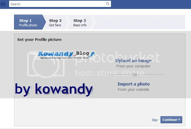 upload gambar fan page