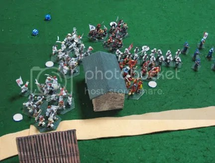 Boxers attempt to charge the Austrians and Italians before they can cut off the cannons escape
