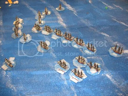 The battle turns to a general melee, where superior British gunnery carries the day
