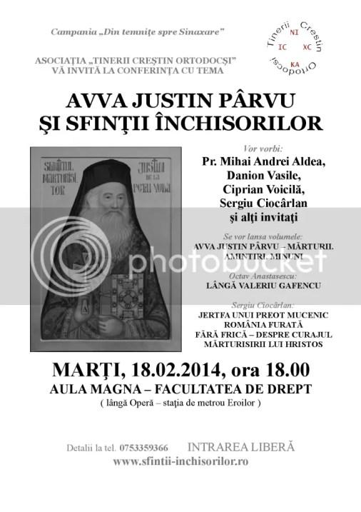 "conferinta ""Avva Justin Parvu si sfintii inchisorilor"" [ marti, 18 feb 2014, fac. Drept - Eroilor ]"