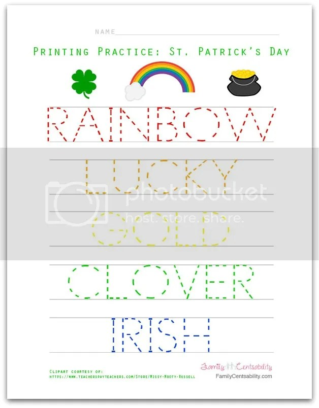 Preschoolers and kindergarteners who are learning how to write letters and spell basic words will love this free printable St. Patrick's Day activity!